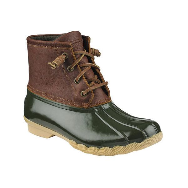 Women's Sperry Top-Sider Saltwater Duck Boot ($90) ❤ liked on Polyvore featuring shoes, boots, casual, winter boots, slip resistant boots, duck boots, laced boots, quilted duck boots and lace up boots