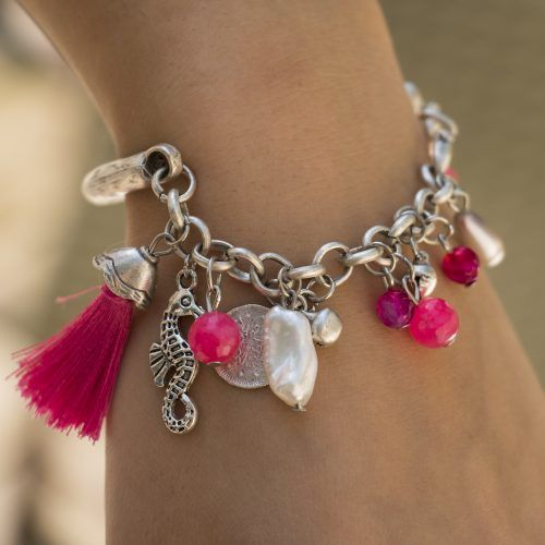 Silver Bracelet with White Pearls, Swarovski Crystals, Jade, Pink Beads, Pink Tassel & Silver Seahorse Charm. Chiki Design