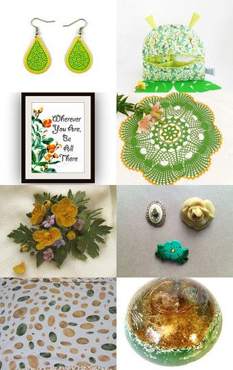 Yellow and gree treasury  by Verofibre on Etsy--Pinned with TreasuryPin.com