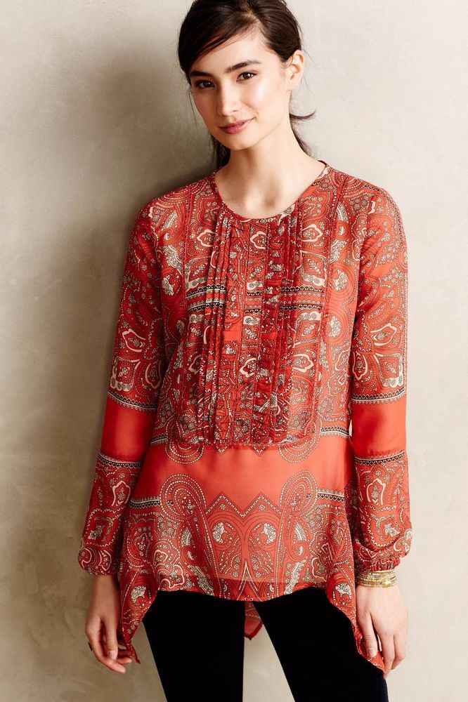 YM1 ANTHROPOLOGIE S NWT Kamala Paisley Tunic Love Sam Orange Women's Top #Anthropologie #PeasantTop #Casual