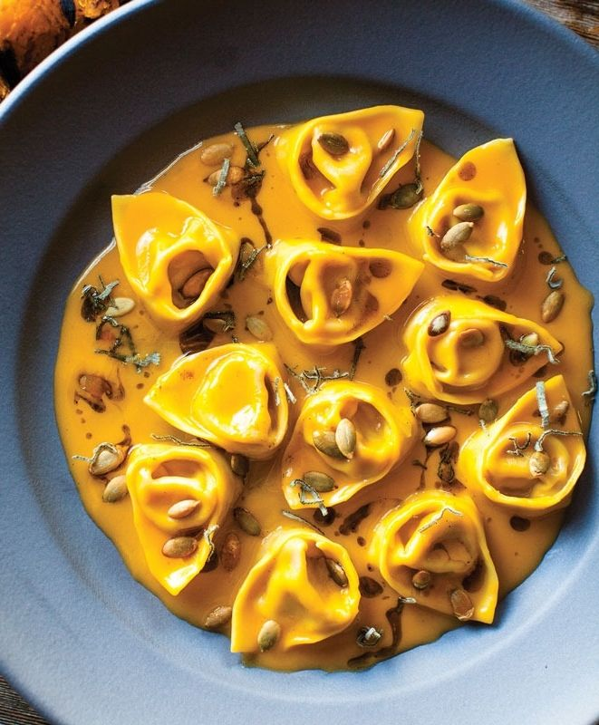 Pumpkin Tortelloni with Sage and Pumpkin Seeds recipe from flour + water in San Francisco.