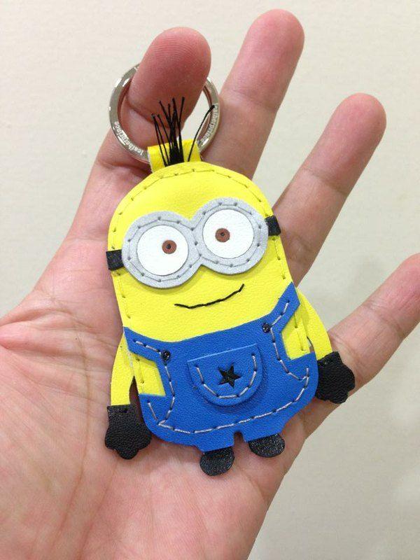 神偷奶爸 2 Despicable Me 2 Minion 小小兵 黃色 藍衣服 Dave 手工皮革 鑰匙圈