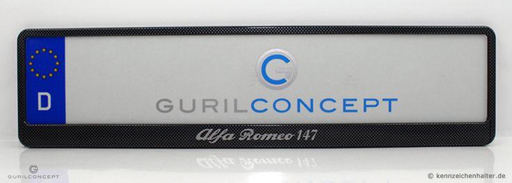 """#kennzeichenhalter #personalisiert nach Kundenvorgabe. Modell: #Carbon-Look für einzeilige #Kfz #Kennzeichen im EU-Format 520x110mm. Druck """"Alfa Romeo"""""""