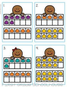 Gingerbread Ten Frames pocket chart or center activity. Match the dots on the ten frames to equations. FREE download.