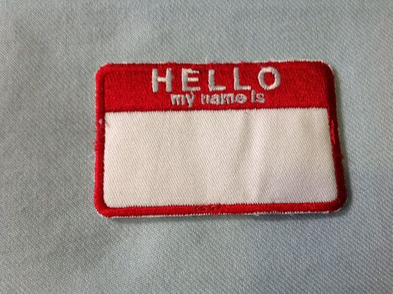 """90s """"Hello My Name Is"""" Slacker Grunge Iron On Patch"""