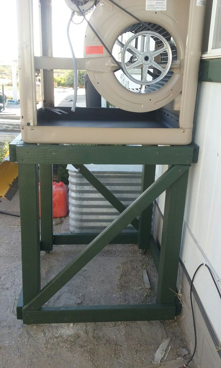 Swamp cooler on stand with wheels for easier removal from