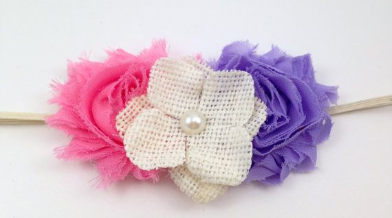 Shabby chic inspired headband with a cluster of by CutiePieonEtsy, $10.00