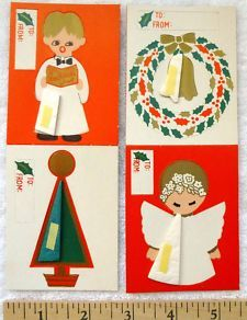 View Item: 4 Christmas Tags Cards 1960's Honeycomb Punch-Outs Caroler Wreath Tree Angel