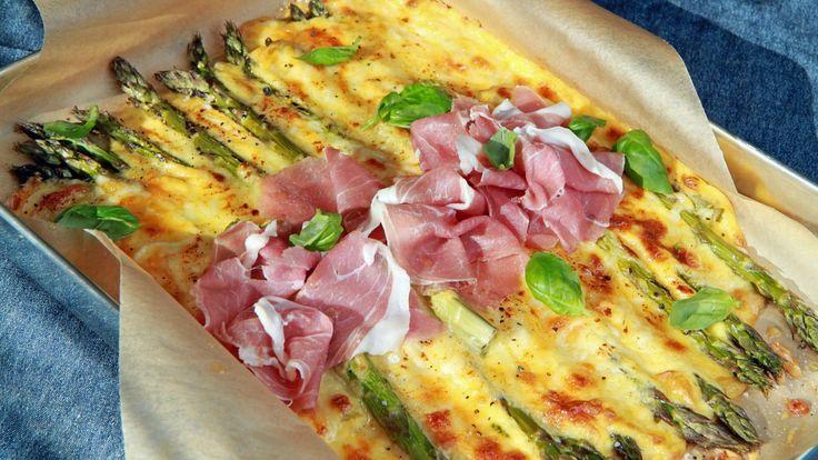 Gratinerte grønne asparges