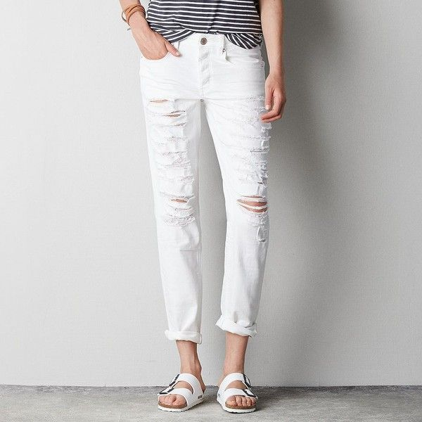 AEO Tomgirl Jeans ($30) ❤ liked on Polyvore featuring jeans, white out, ripped jeans, distressed jeans, tapered leg jeans, white distressed jeans and destruction jeans