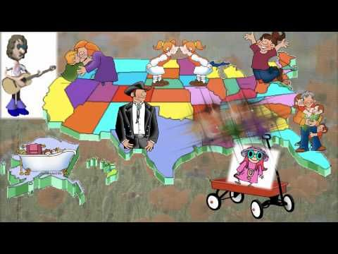 our 50 states song for CC. It's awesome and a great way for the kids to not only memorize the song but visualize the states and where they are as they sing.