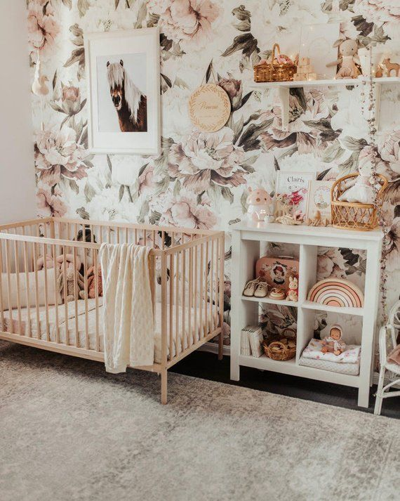 12 Cute Floral Wallpaper Accent Wall Nursery Baby Girls Nursery Nursery Wall Decor Nursery Wallpaper
