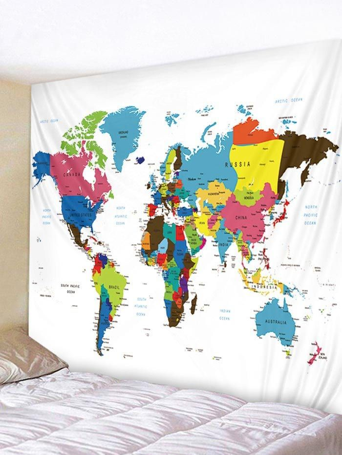 Colorful World Map Print Tapestry Wall Art Decorating Idea S