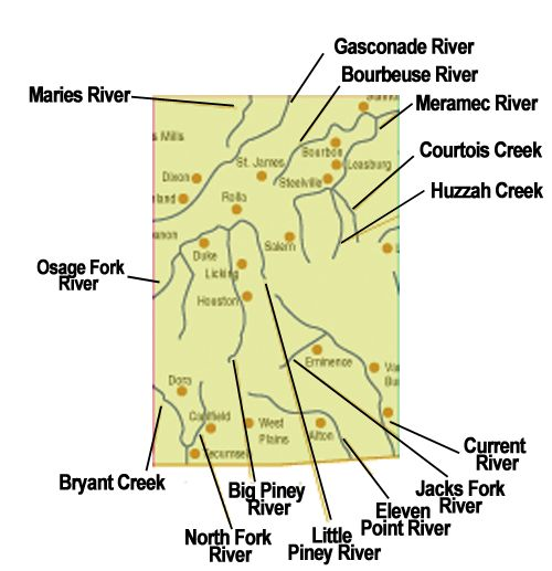 Missouri float trips by area                                                                                                                                                      More