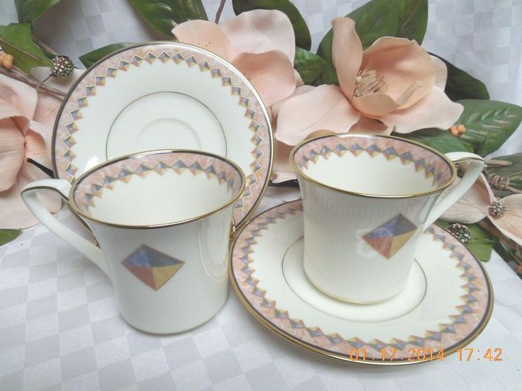 Noritake White China Dinnerware Momentum pattern #7734 2 Cup & saucer  #NoritakeChinaDinnerware