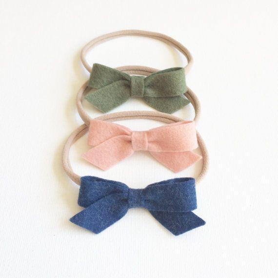 Felt Bow on Nylon Elastic Headbands or Clips Olive by primandposy