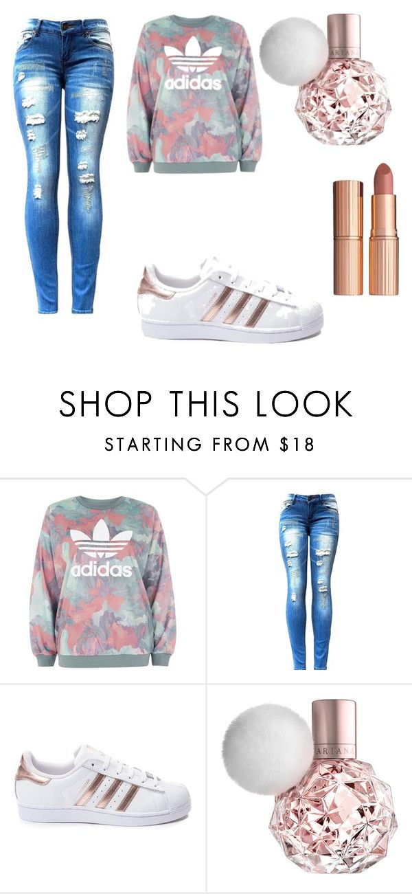foot ball game outfit by bruhits-liyah on Polyvore featuring adidas and Charlotte Tilbury
