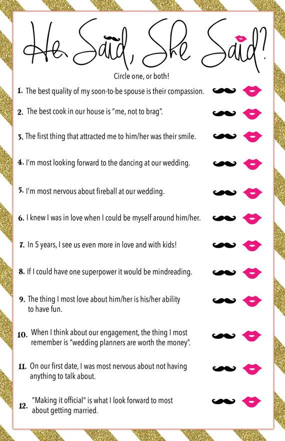Printable He Said, She Said? Bridal Shower Game