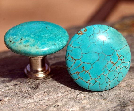Round Turquoise Cabinet Knobs or Drawer Pulls - stone knobs, stone knobs, kitchen, bathroom, South West