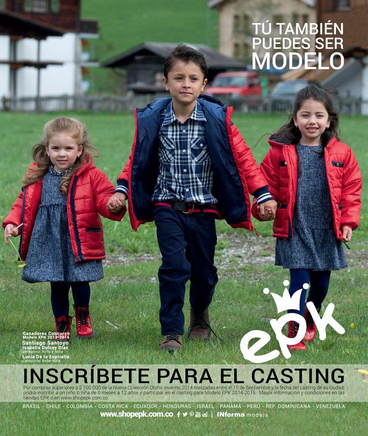 Se abre la #convocatoria Modelo EPK 2014 en Colombia, ¡no esperes más e inscribe a tu niño (a) de entre 6 meses y 12 años en tu tienda EPK más cercana! Conoce más: http://goo.gl/1zbfM6
