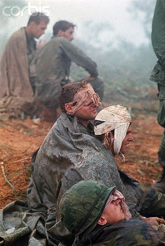 April 4, 1968 near Khe Sanh, South Vietnam - 1st Cavalry soldiers, many with head wounds, wait to be evacuated from a hilltop along Route 9 during their advance toward Khe Sanh. #VietnamWarMemories