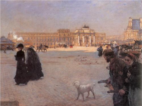 La Place du Carrousel, Paris: The Ruins of the Tuileries - Giuseppe de Nittis 1882