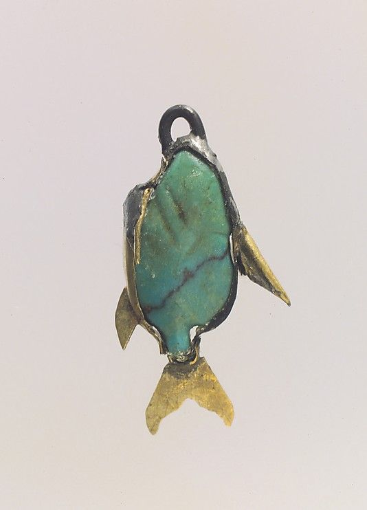 """""""Fish Amulet / Egypt / 1800 BCE  Ancient Egyptians called fish amulets like this nekhau and gave them to young girls to wear as a charm against drowning. Some scholars suggest that such amulets functioned by aversion, that is, a reminder of a watery environment was enough to give the owner security, but it is much more likely that the amulet allowed the wearer to acquire the abilities of a fish, and therefore survival, if she happened to fall into the water."""""""