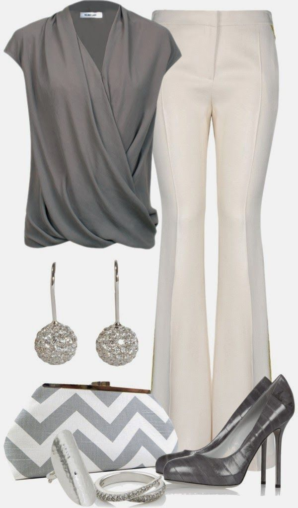 Love this top.  Love the draped and wrap styles.  Not a fan of the rest.  Heels too high for me, don't like flared pants.