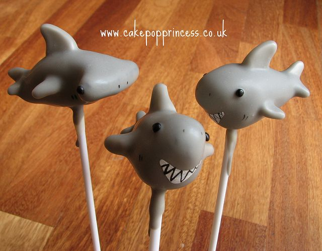 shark cake pops--No hammer head for me.  But the one upfront looks a little jaws like!