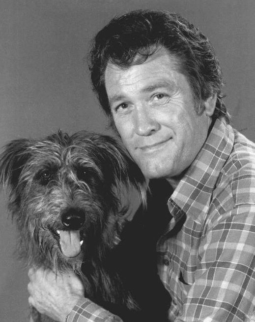 "Earl Holliman & Katie, a mixed breed & ""sweet dog"" found on the freeway on his way to Actors and Others meeting."
