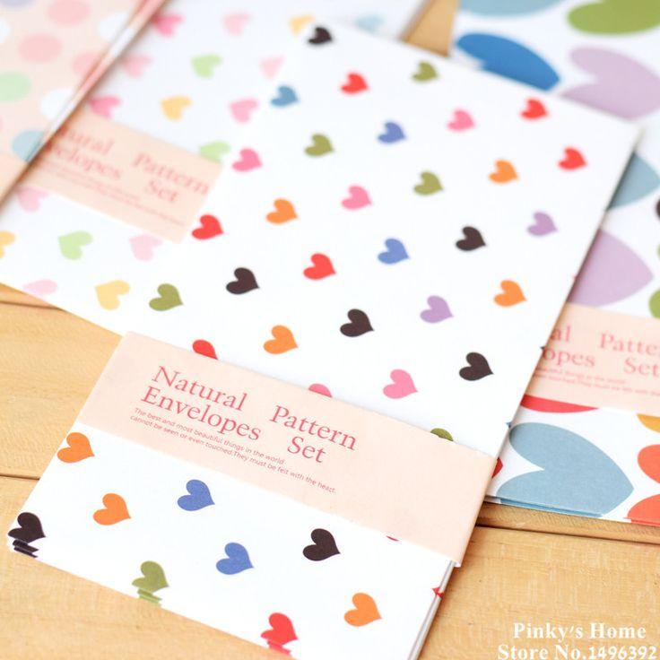 (10 pièces/lot) Naturel Couleur Horizontal Version Coeur Coloré Enveloppes Long Papier Enveloppe