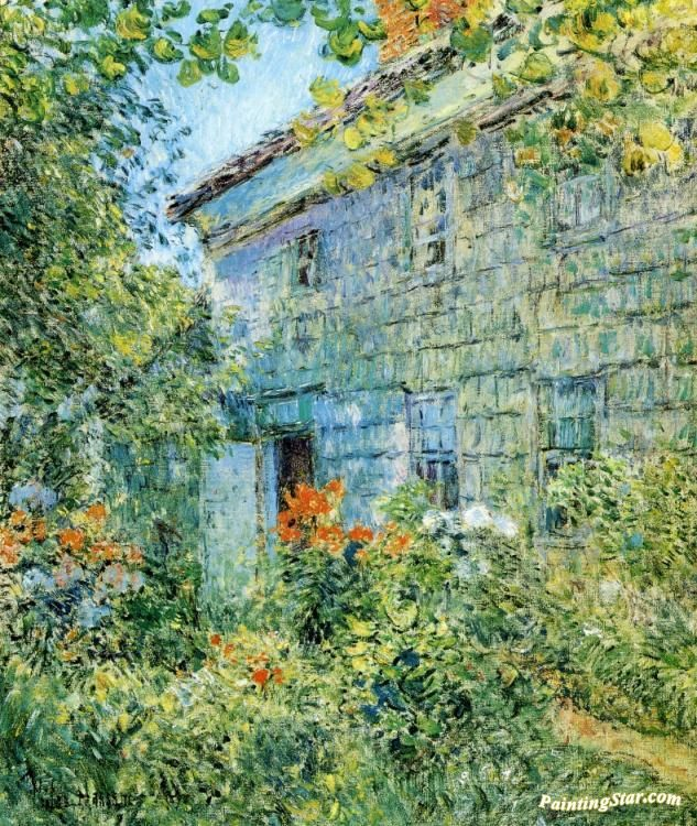 Old House and Garden, East Hampton Artwork by Frederick Childe Hassam Hand-painted and Art Prints on canvas for sale,you can custom the size and frame