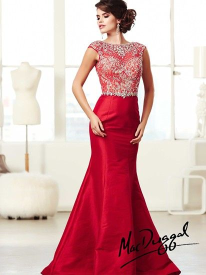 Glamorous full-length stretch taffeta evening gown by Mac Duggal