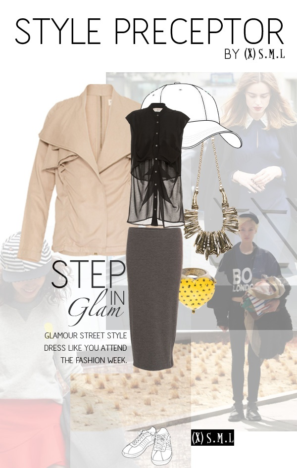 STYLE PRECEPTOR by (X)S.M.L - STEP IN GLAM    ASYMMETRIC COLLAR JACKET  http://www.xsml.co.id/women/wouterwears?product_id=124    DRAPPY POCKETS LONG SLEEVELESS SHIRT  http://www.xsml.co.id/women/wdress?product_id=398    CASUAL KNIT SKIRT  http://www.xsml.co.id/women/wbottoms?product_id=330    RAMULES NECKLACE  http://www.xsml.co.id/women/waccessories/wnecklaces?product_id=192    YELLOW HEART STARS RING  http://www.xsml.co.id/women/waccessories/wrings?product_id=357