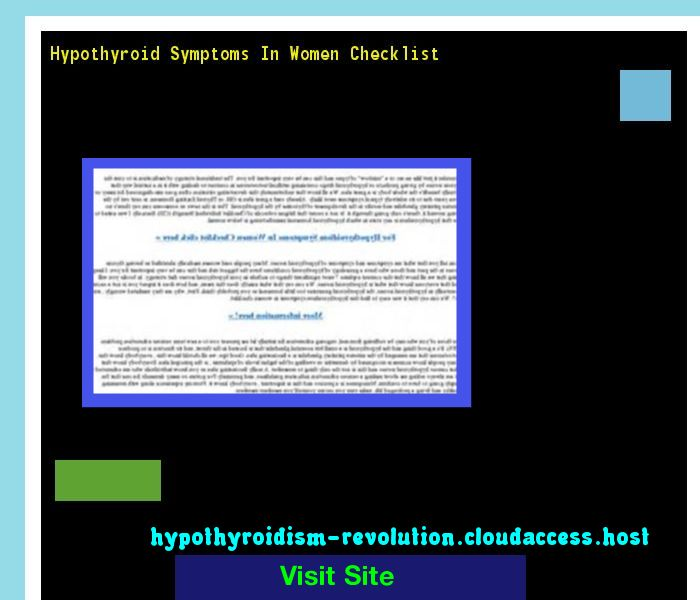 Hypothyroid Symptoms In Women Checklist 134354 - Hypothyroidism Revolution!