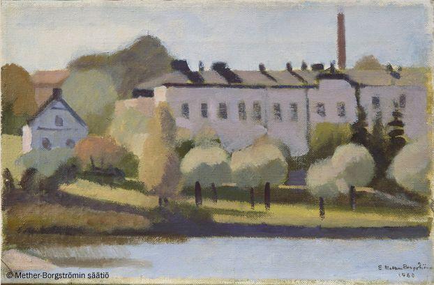 Ernst Mether-Borgström: Lapinlahden sairaala, 1960, öljy, 27x41 cm - Mether-Borgströmin säätiö 2016