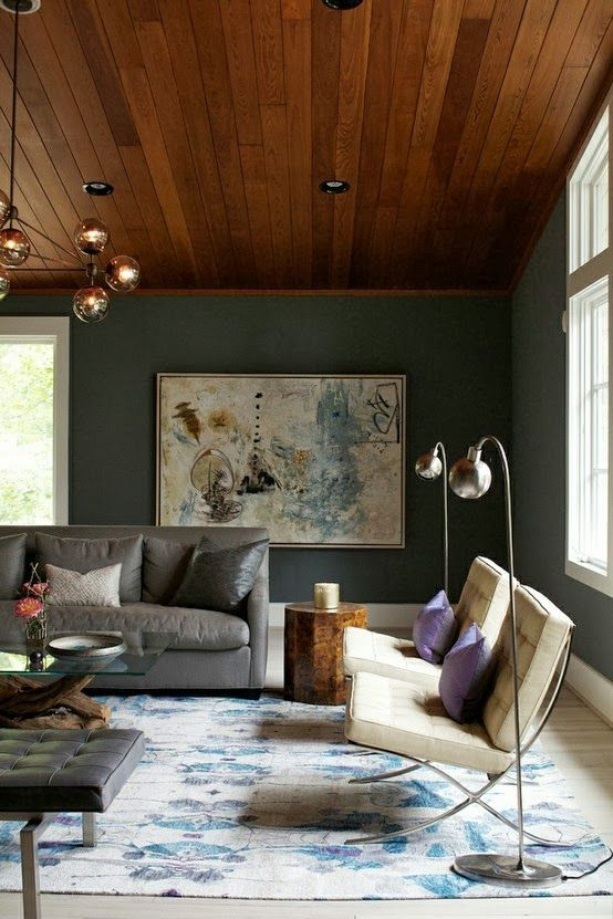 this looks like the perfect saturated gray/green/slightly blue color. no details on the paint, tho. // La Boheme: Spaces