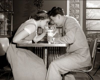 1950s first date... the days when boys asked a girl out to her face, walked her to her door, and had a first kiss on the door step...