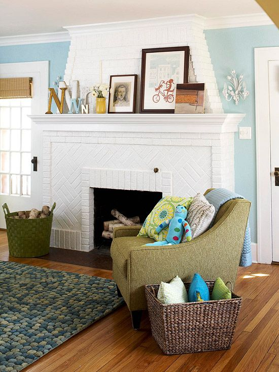 great color for a living room. Looks great with the white and green.