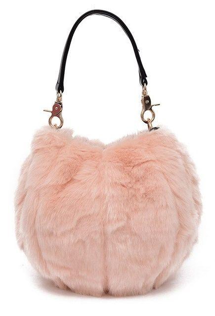 Women s Pink Faux Fur Fashion Messenger Bag in 2019  03cd41ff5b122