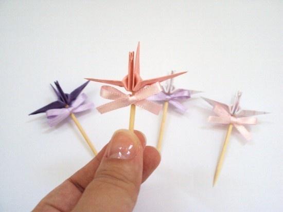 mini topper || listras rosa e lilás com tsuru