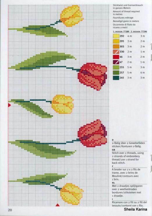 Tulipanes en punto de cruz