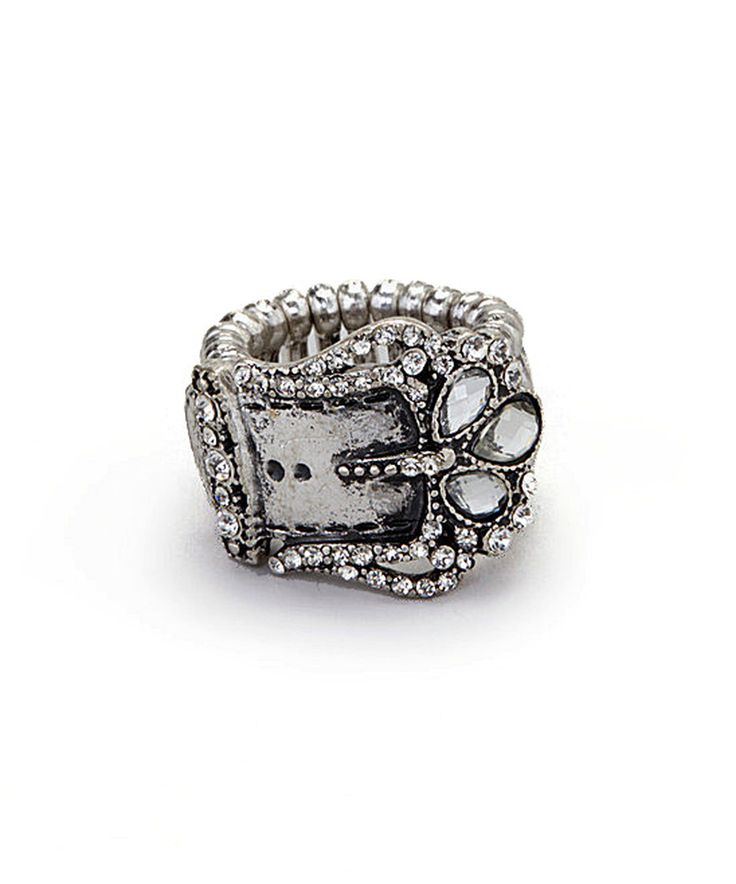 Loving this Gabrielle Jewelry Antique Silver Belt Buckle Stretch Ring on #zulily! #zulilyfinds