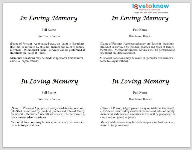 Funeral Announcement Sample] Memorial Announcement Tap Personalize ...