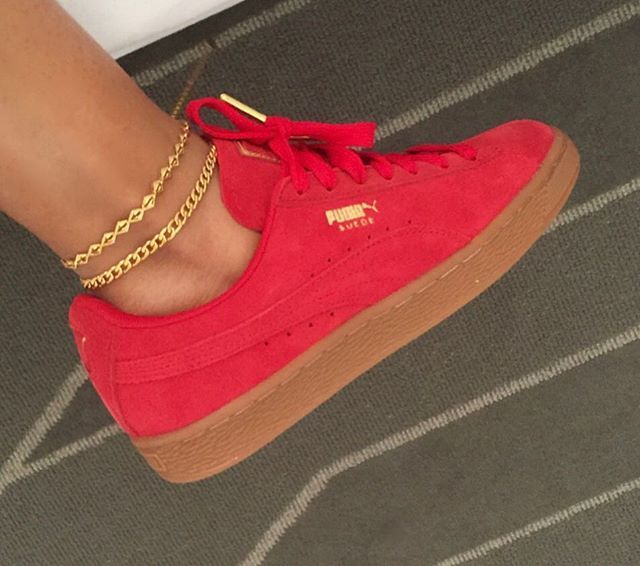 Red with the gum bottoms & gold tip laces. ✨ Wearing my favorite Diamond + Cuban Anklets. #sustainablefashion #anklets #puma #jlanijewels