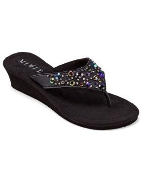 Mixit Jeweled Wedge Flip Flops