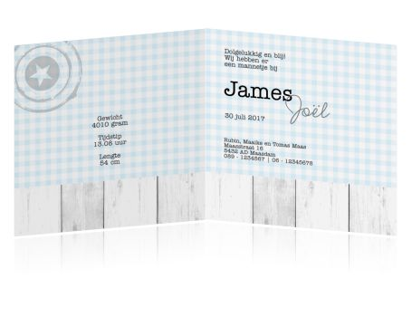 Lief en stoer kaartje voor de geboorte van een jongen. Met hout, label, stempel en leuke patronen.
