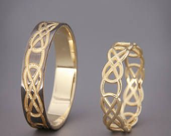 14 K Rose Gold keltische Eheringe Set  Handgefertigte 14k
