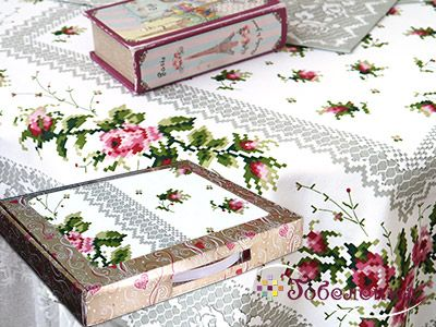 Набор подарочный Розочки: столешница и 2 салфетки (хлопок 100%+печать)