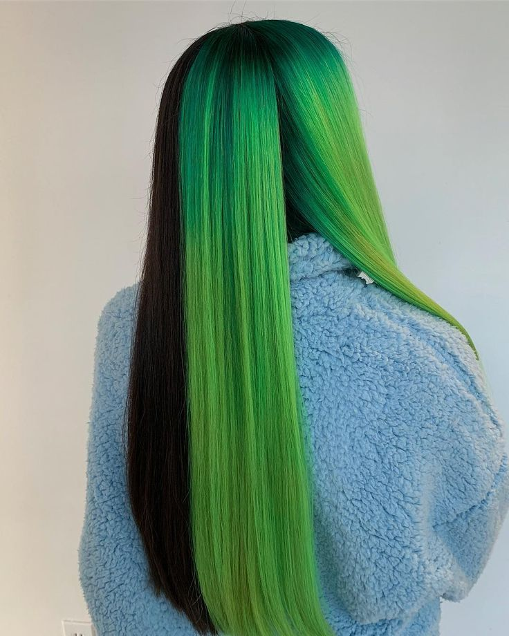 Neon Green Newest Color Trend Neongreentrend Greentrend Womanfashion Fashionactivation Womanoutfits Fashionnews Hair Styles Split Dyed Hair Green Hair